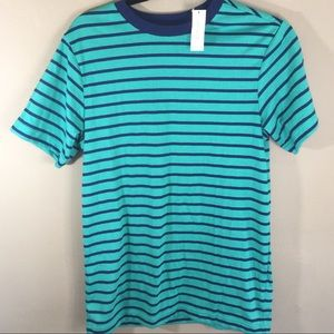 🌞🆕Old Navy Boy's Striped Teal/Navy Tee Sz XL